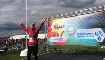 Tracey Crammond, the millionth finisher of the Bupa Great North Run