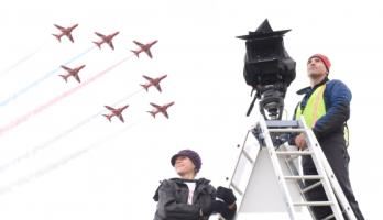 Melanie Manchot and the red arrows. Photographer: Colin Davison